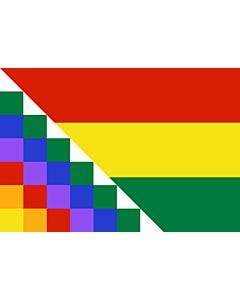 Fahne: Proposed flag of Bolivia | Possible proposal of Evo Morales for a new flag of Bolivia | Diseño de posible bandera propuesta por Evo Morales para Bolivia