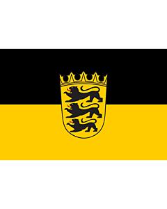 Fahne: Landesdienstfahne Baden-Württembergs mit kleinem Landeswappen