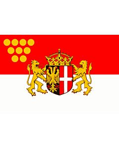 Fahne: Das Wappen der Stadt Neuss zeigt auf einem von Schwarz und Rot gespaltenen Schild im schwarzen  linken  Feld einen rot bewehrten