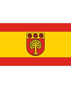 Fahne: Beschreibung der Fahne  Die Fahne ist von Rot zu Gelb zu Rot im Verhältnis 1 3 1 längsgestreift mit dem Wappenschild der Stadt in der Mitte