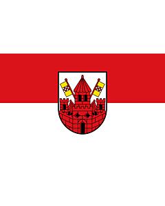 Fahne: Kreisstadt UnnaBeschreibung des Wappens  In Silber  Weiss  eine rote Stadtbefestigung