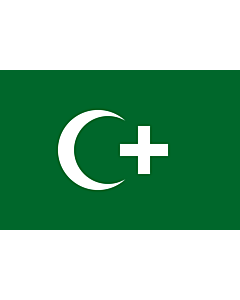 Fahne: Revolution flag of Egypt 1919 | The revolution flag of Egypt from 1919. It bears a crescent and cross to demonstrate that both Muslims and Christians supported the Egyptian nationalist movement against British occupation