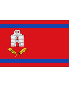Fahne: Chalamera | Chalamera-Huesca-Spain | Chalamera-Huesca Paño rojo de proporción 2/3, con dos franjas horizontales