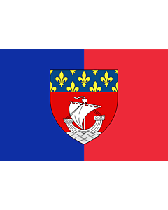 Fahne: Paris with shield | Vectorized image of the FOTW site flag of Paris