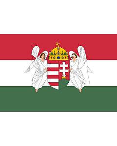 Fahne: Hungary  1867-1918 | A variant of the flag of the Kingdom of Hungary used between 6 November 1915 to 29 November 1918 | A Magyar Királyság 1915. november 6. és 1918. november 29. között használt zászlajának egyik változata