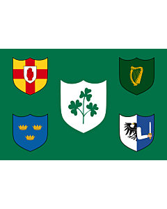 Fahne: IRFU | IRFU flag first made public in 1925, comprised of the traditional four provinces of Ireland shields and other older elements