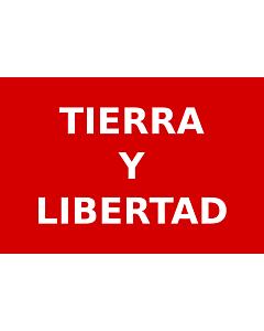 Fahne: Partido Liberal Mexicano | Roja con el lema  Tierra y Libertad  en letras blancas usada por los guerrilleros del Partido Liberal Mexicano durante la Revolución Mexicana