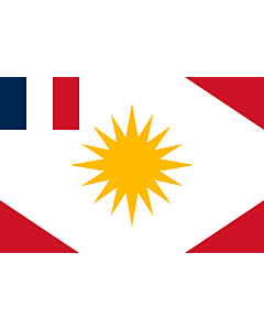 Fahne: Latakiya-sanjak-Alawite-state-French-colonial | One form of the flag of the Sanjak of Latakiya or Alawite state in northwest Syria under French colonial rule | Territoire autonome des Alaouites