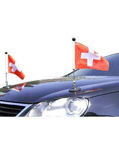 Paar  magnetisch haftender Autofahnen-Ständer Diplomat-1.30 Schweiz