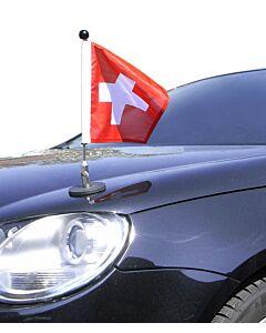 magnetisch haftender Autofahnen-Ständer Diplomat-1.30 Schweiz (quadratisch 25x25 cm)
