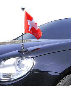 magnetisch haftender Autofahnen-Ständer Diplomat-1.30-Chrome Schweiz