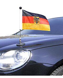magnetisch haftender Autofahnen-Ständer Diplomat-1 Deutschland mit Dienst-Wappen