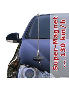 magnetisch haftender Autofahnen-Ständer Diplomat-1.30-Chrome